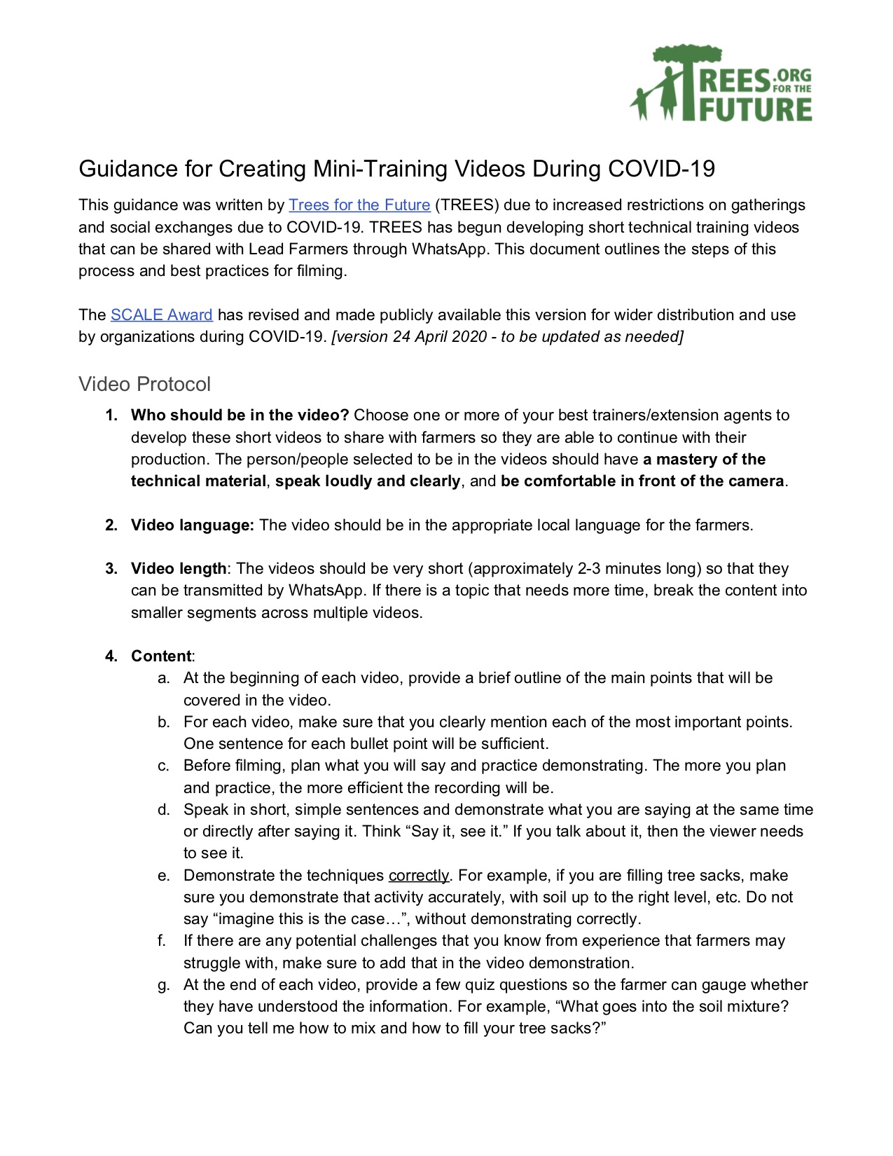 Guidance for Creating Mini-Training Videos During COVID-19