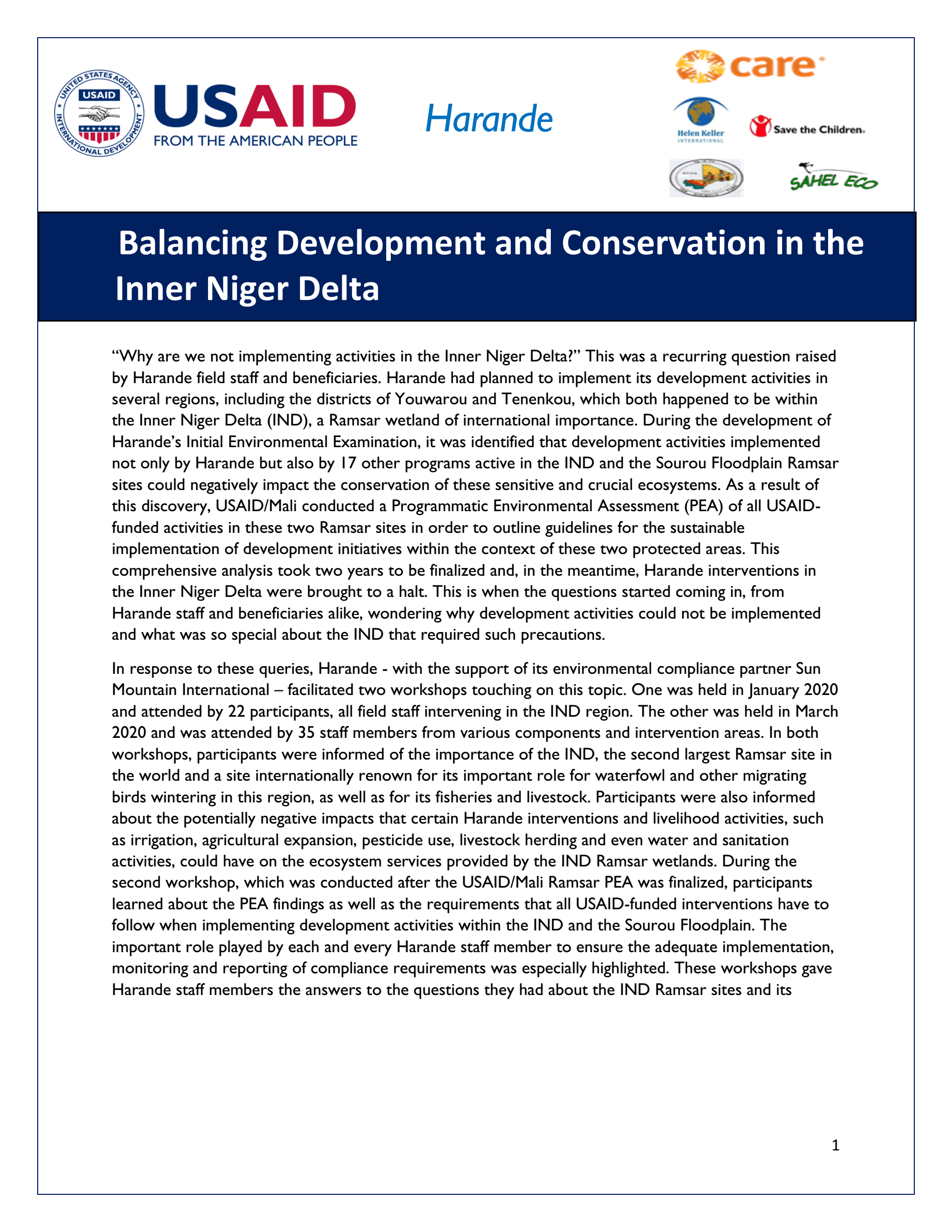 Balancing Development and Conservation in the Inner Niger Delta - Harande