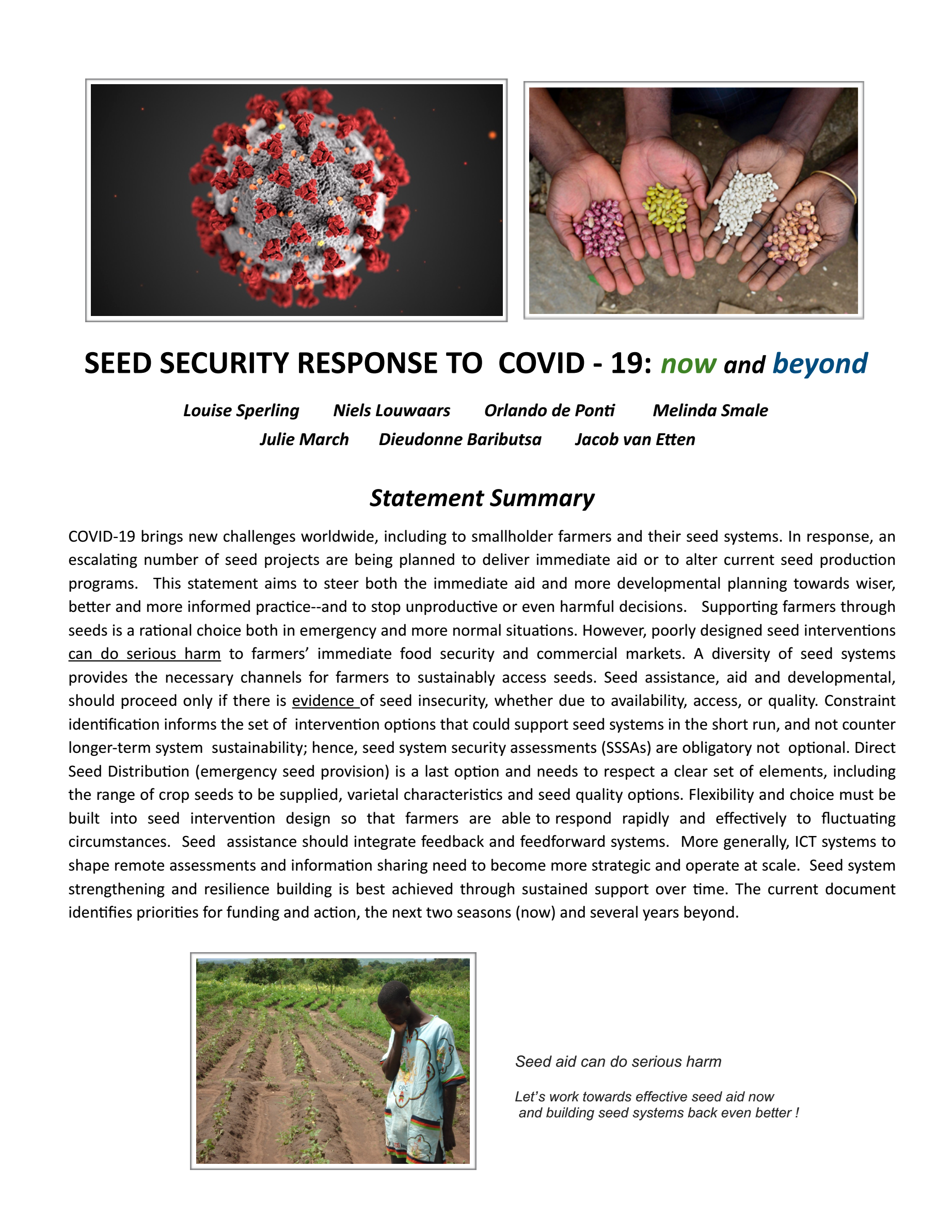 COVID19 and Seed Security