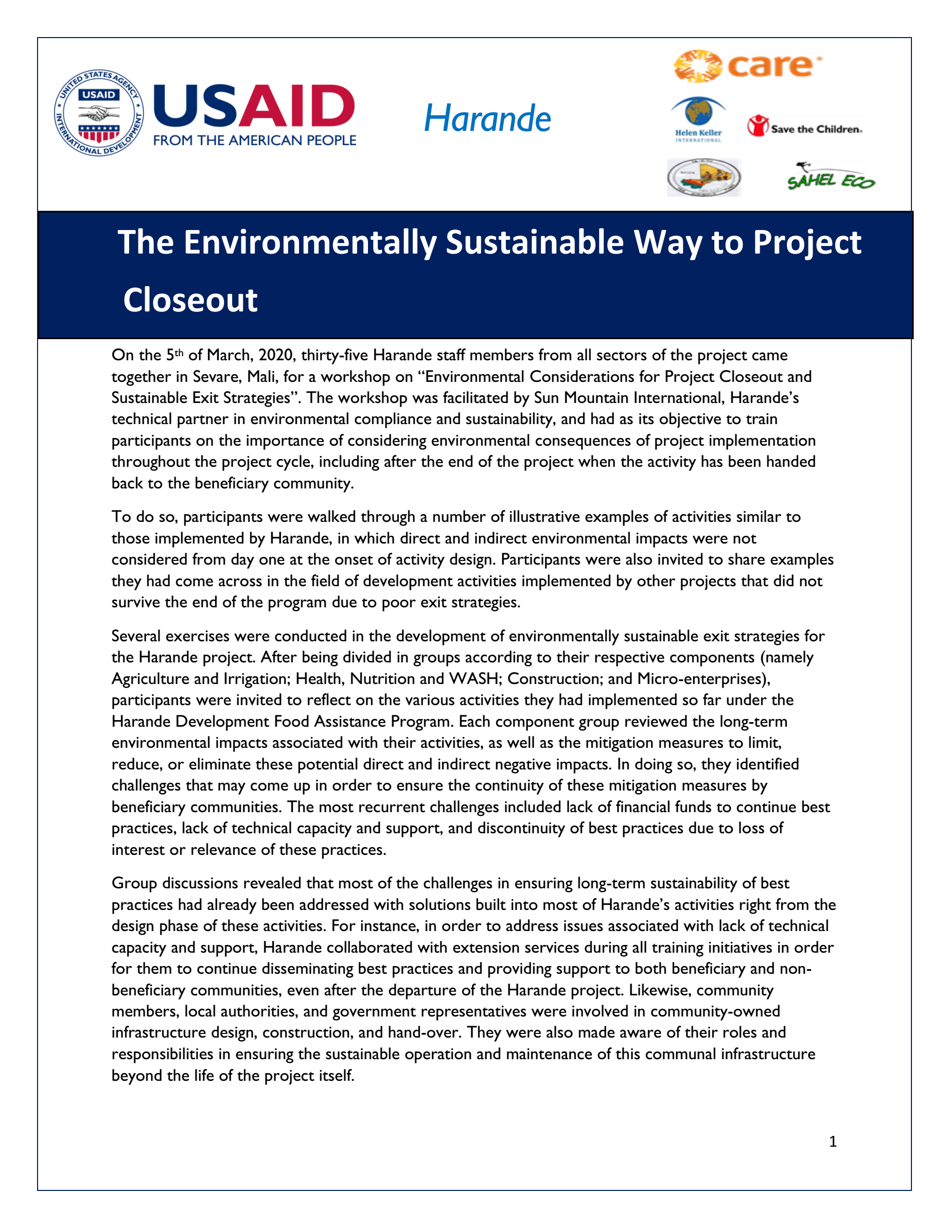 The Environmentally Sustainable Way to Project Closeout - Harande