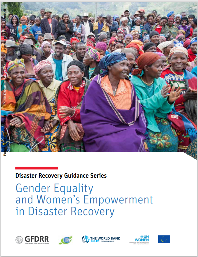 Cover page of World Bank report on Gender Equality and Women's empowerment in disaster recovery