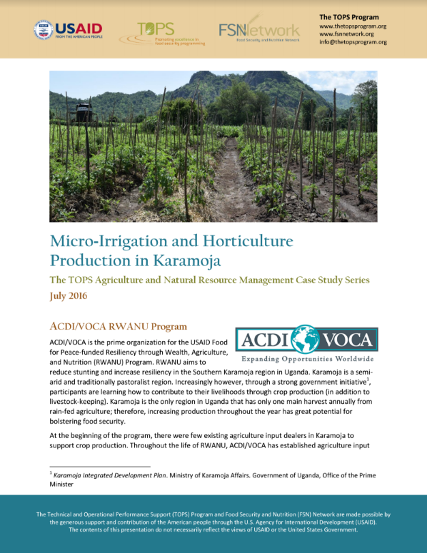 Download Resource: TOPS ANRM Case Study: Micro-Irrigation and Horticulture Production in Karamoja