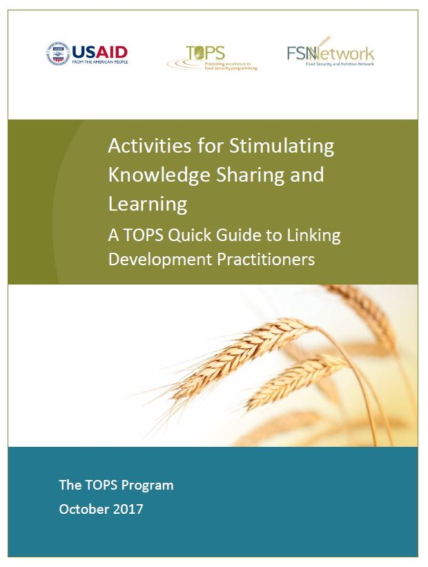 Download Resource: Activities for Stimulating Knowledge Sharing and Learning: A TOPS Quick Guide to Linking Development Practitioners