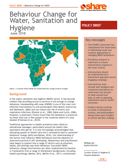 Download Resource: Behavior Change for Water, Sanitation and Hygiene by SHARE