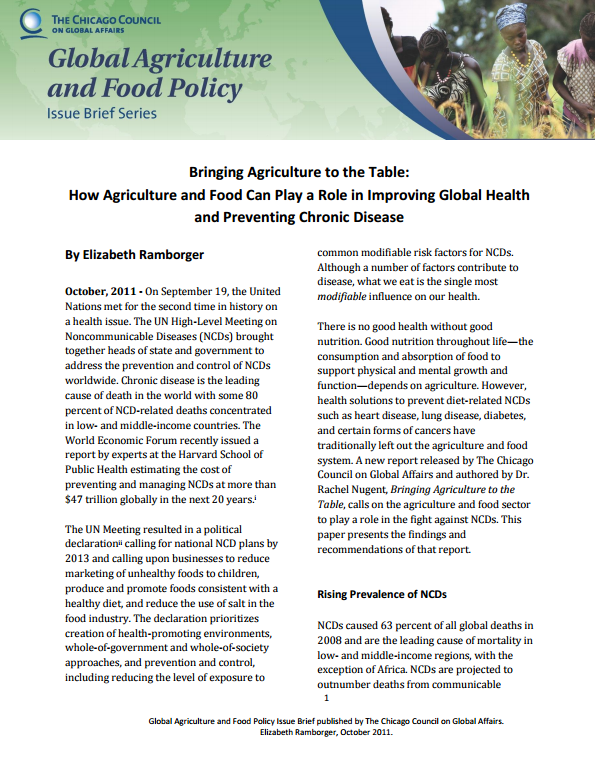 Download Resource: Bringing Agriculture to the Table: How Agriculture and Food Can Play a Role in Improving Global Health and Preventing Chronic Disease