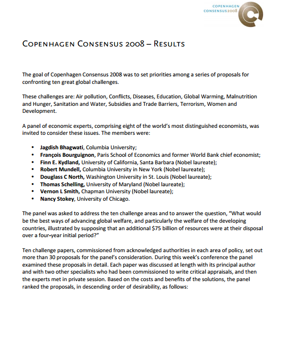 Download Resource: Copenhagen Consensus 2008 – Results