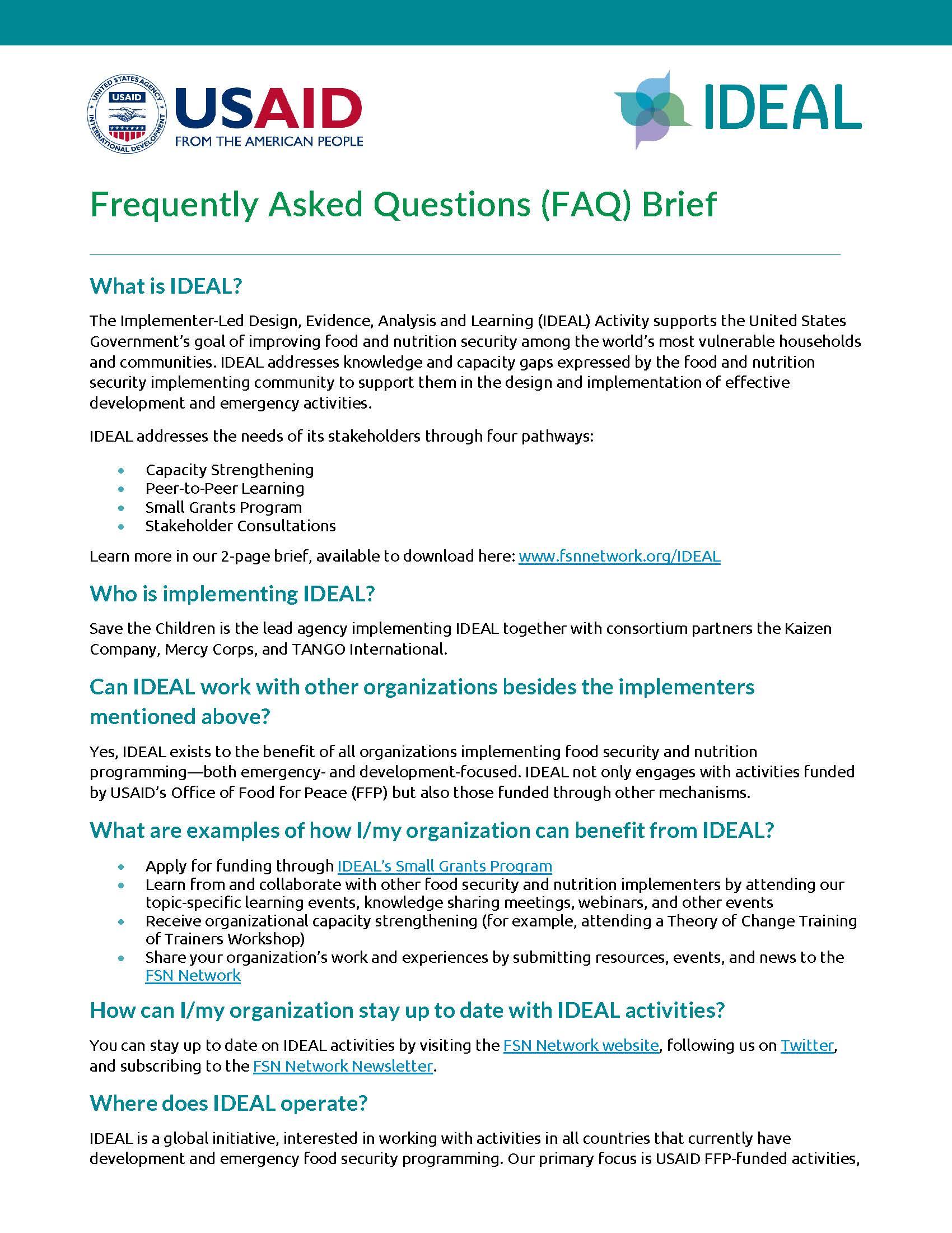 IDEAL FAQ Document