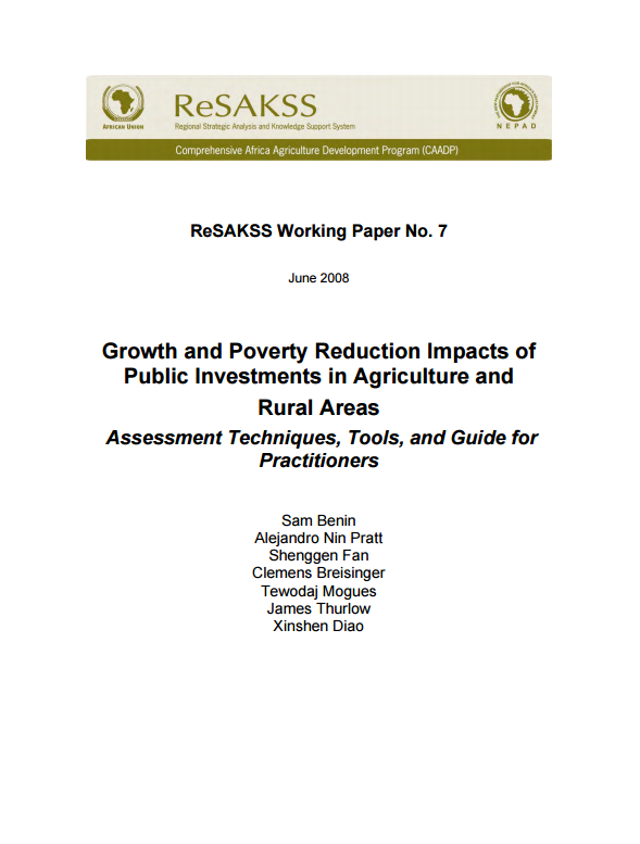 Download Resource: Growth and Poverty Reduction Impacts of Public Investments in Agriculture and Rural Areas: Assessment Techniques, Tools, and Guide for Practitioners