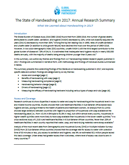 Download Resource: The State of Handwashing in 2017: Annual Research Summary