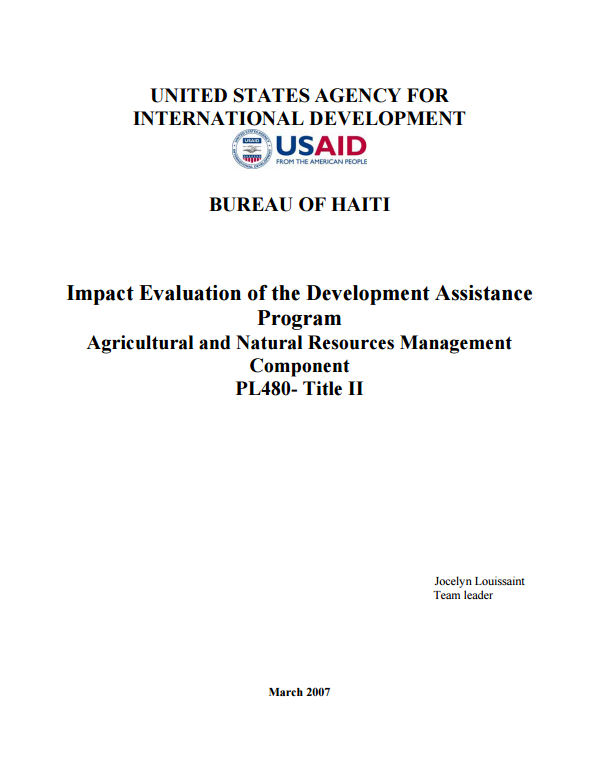 Download Resource: Impact Evaluation of the Development Assistance Program Agricultural and Natural Resources Management Component