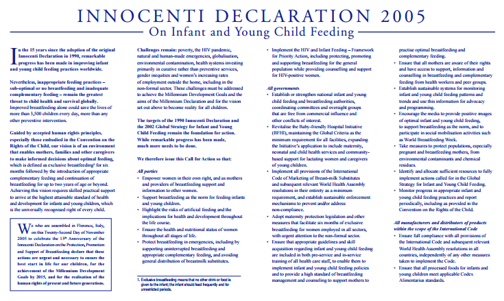 Download Resource: Innocent Declaration 2005 on Infant and Young Child Feeding