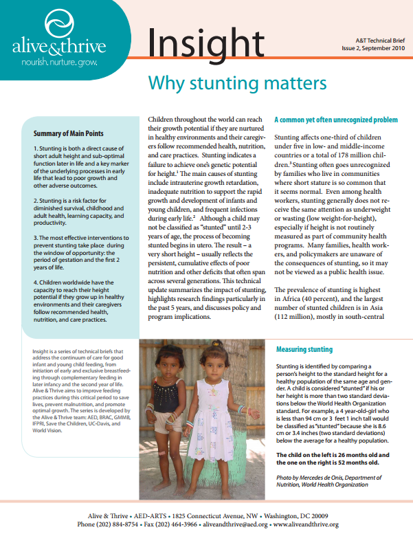 Download Resource: Insight: Why Stunting Matters - A Technical Brief