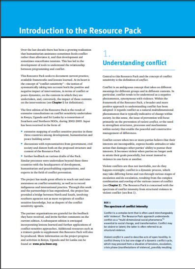 Download Resource: Conflict-sensitive approaches to development, humanitarian assistance and peacebuilding: A resource pack