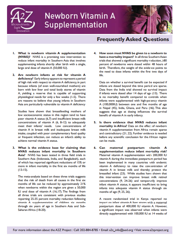 Download Resource: Newborn Vitamin A Supplementation: Frequently Asked Questions
