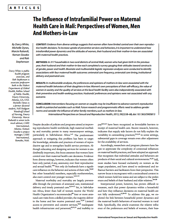 Download Resource: The Influence of Intrafamilial Power on Maternal Health Care in Mali: Perspectives of Women, Men And Mothers-in-Law