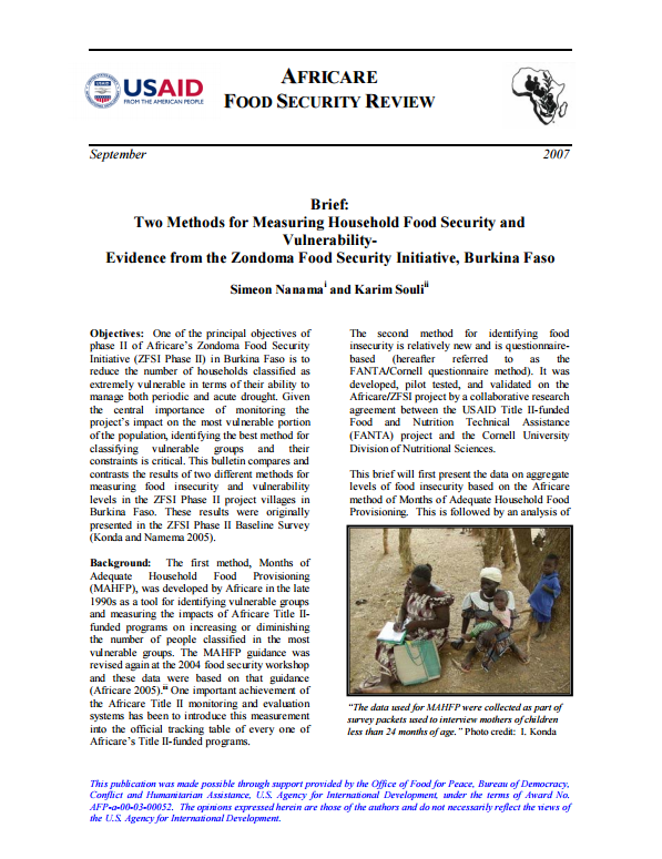 Download Resource: Brief: Two Methods for Measuring Household Food Security and Vulnerability- Evidence from the Zondoma Food Security Initiative, Burkina Faso