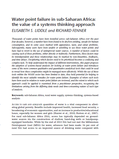 Download Resource: Water point failure in sub-Saharan Africa: the value of a systems thinking approach