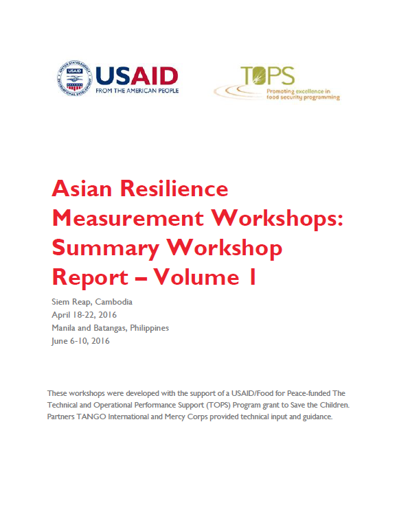 Download Resource: Asian Resilience Measurement Workshops Summary