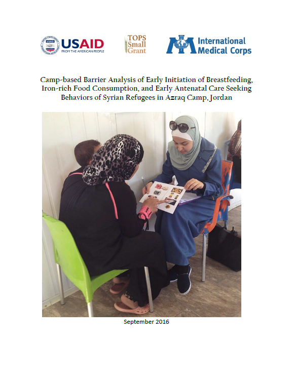 Download Resource: Camp-based Barrier Analysis of Early Initiation of Breastfeeding, Iron-rich Food Consumption, and Early Antenatal Care Seeking Behaviors of Syrian Refugees in Azraq Camp, Jordan