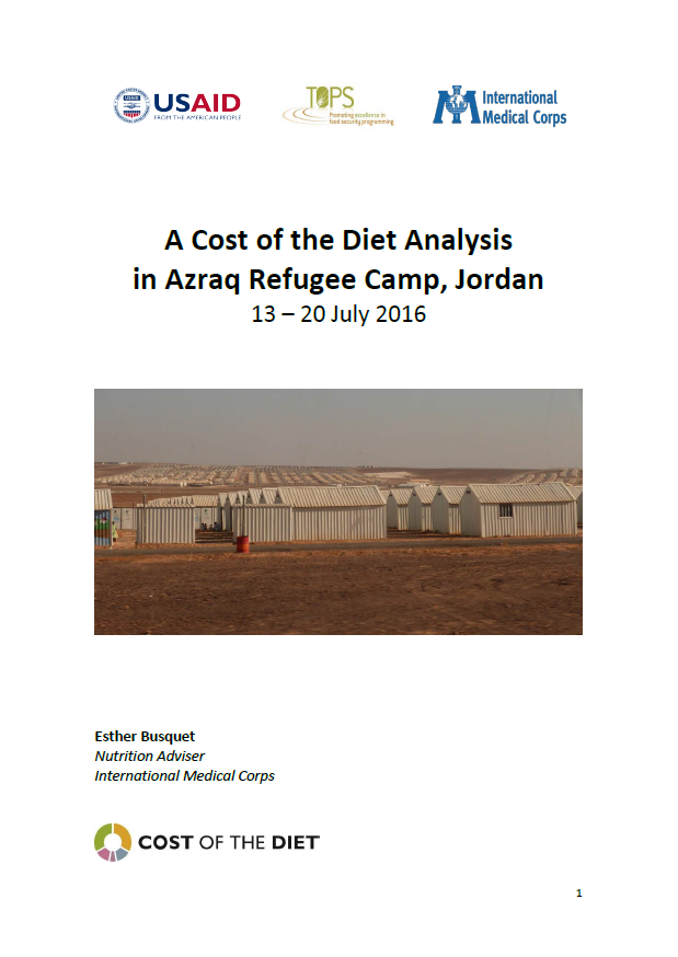 Download Resource: A Cost of the Diet Analysis in Azraq Refugee Camp, Jordan