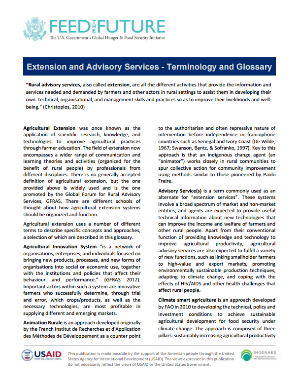 Download Resource: Extension and Advisory Services - Terminology and Glossary