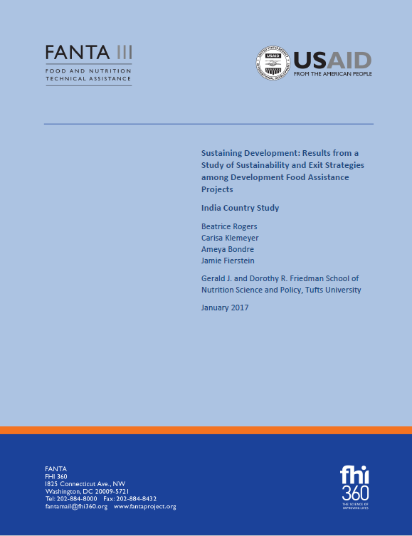 Download Resource: Sustaining Development: Results from a Study of Sustainability and Exit Strategies among Development Food Assistance Projects - India Country Study