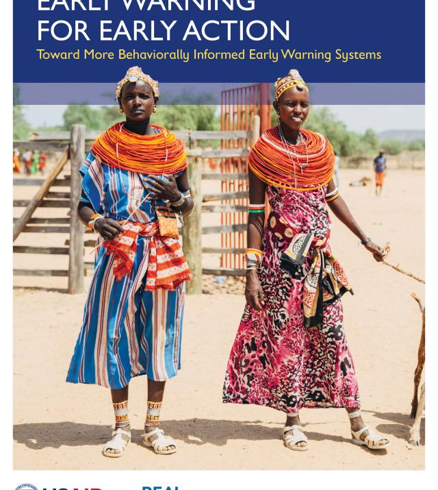 Cover of the Early Warning systems publication. Photo a two women standing and looking at the camera. REAL Logo. USAID Logo
