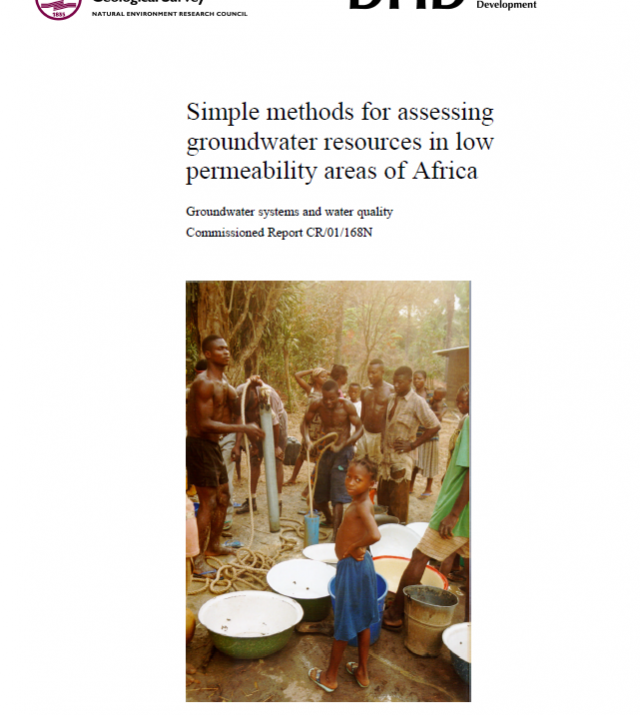 Cover of report on Simple Methods for assessing groundwater resources in low permeability areas of Africa