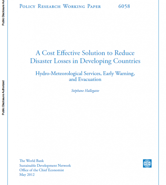 Cover page of A Cost Effective Solution to Reduce Disaster Losses in Developing Countries