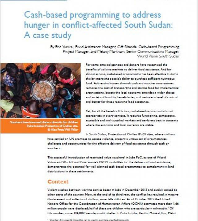 Download Resource: Cash-based Programming to Address Hunger in Conflict-affected South Sudan: A Case Study