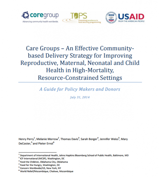Download Resource: Care Groups – An Effective Community-based Delivery Strategy for Improving Reproductive, Maternal, Neonatal and Child Health in  High-Mortality, Resource-Constrained Settings: A Guide for Policy Makers and Donors