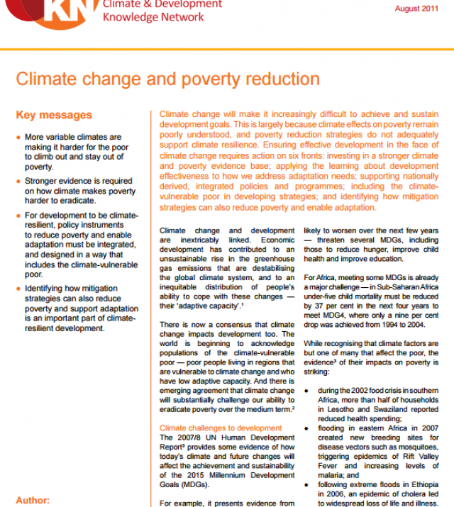 Download Resource: Climate Change and Poverty Reduction