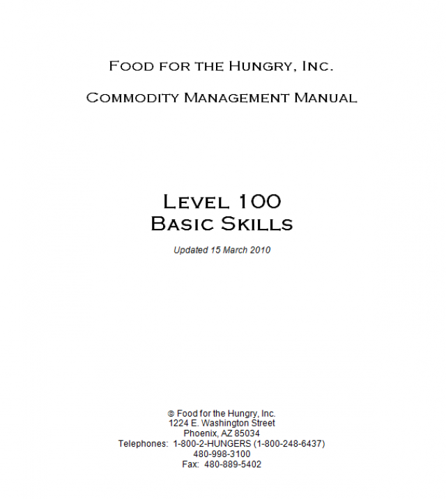 Download Resource: Commodity Management Manuals