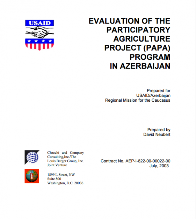 Download Resource: Evaluation of the Participatory Agriculture Project (PAPA) Program in Azerbaijan