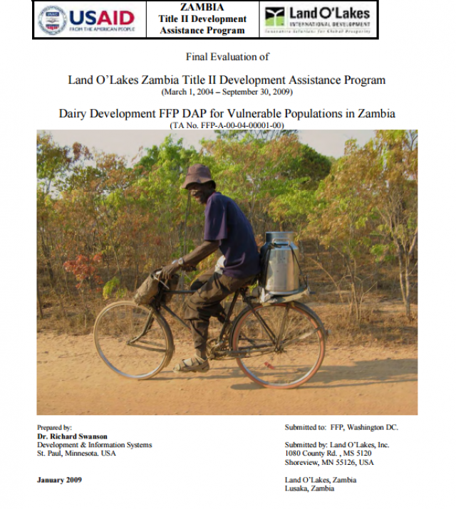 Download Resource: Final Evaluation of Land O'Lakes Zambia Title II Development Assistance Program Dairy Development FFP DAP for Vulnerable Populations in Zambia