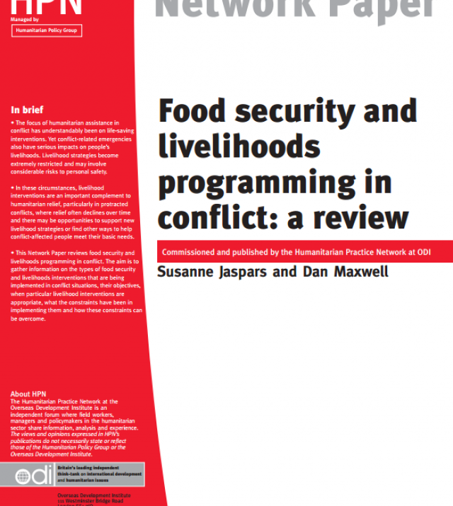 Download Resource: Food Security and Livelihoods Programming in Conflict: A Review