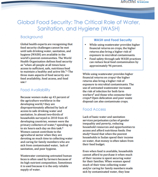 Download Resource: Global Food Security: The Critical Role of Water, Sanitation, and Hygiene (WASH)