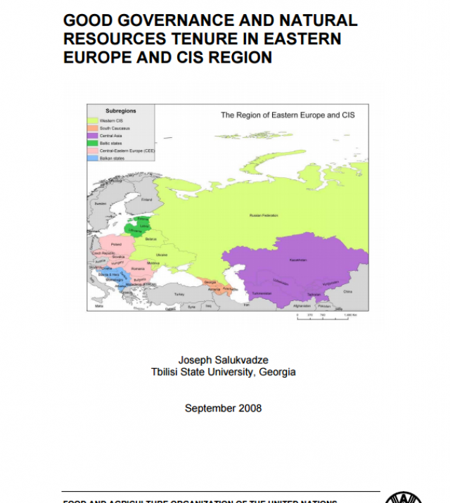 Download Resource: Good Governance and Natural Resources Tenure in Eastern Europe and CIS Region