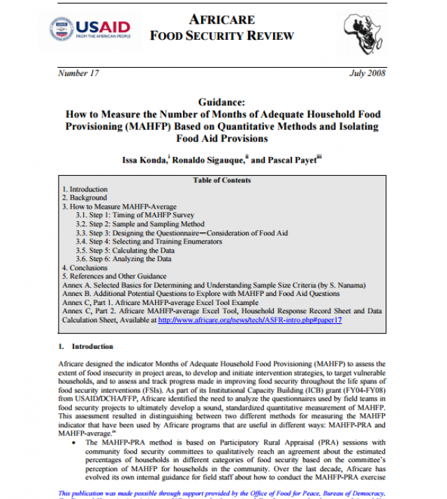 Download Resource: Guidance: How to Measure the Number of Months of Adequate Household Food Provisioning (MAHFP) Based on Quantitative Methods and Isolating