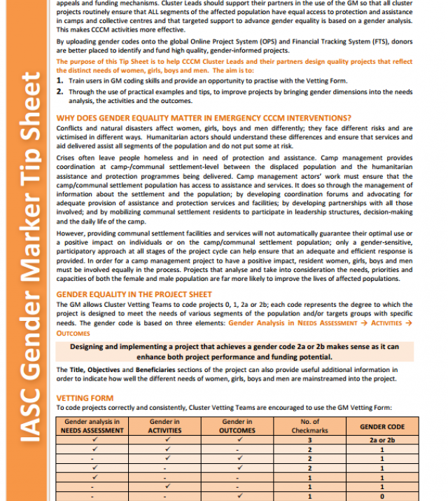 Download Resource: IASC Gender Marker Tip Sheet: Camp Coordination & Camp Management (CCCM)