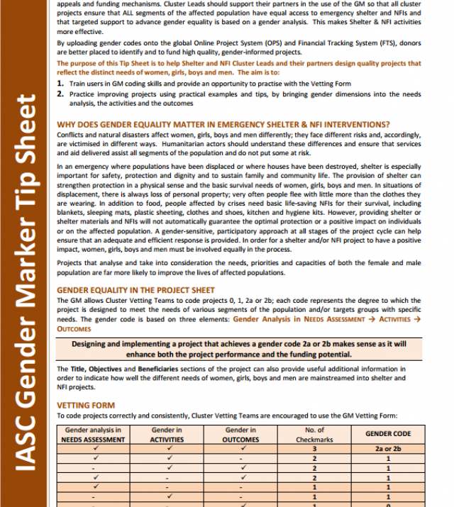 Download Resource: IASC Gender Marker Tip Sheet: Shelter and Non-Food Items