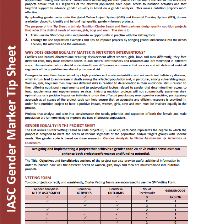Download Resource: IASC Gender Marker Tip Sheets: Nutrition and Food Security