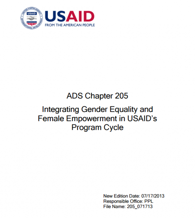 Download Resource: Integrating Gender Equality and Female Empowerment in USAID's Program Cycle