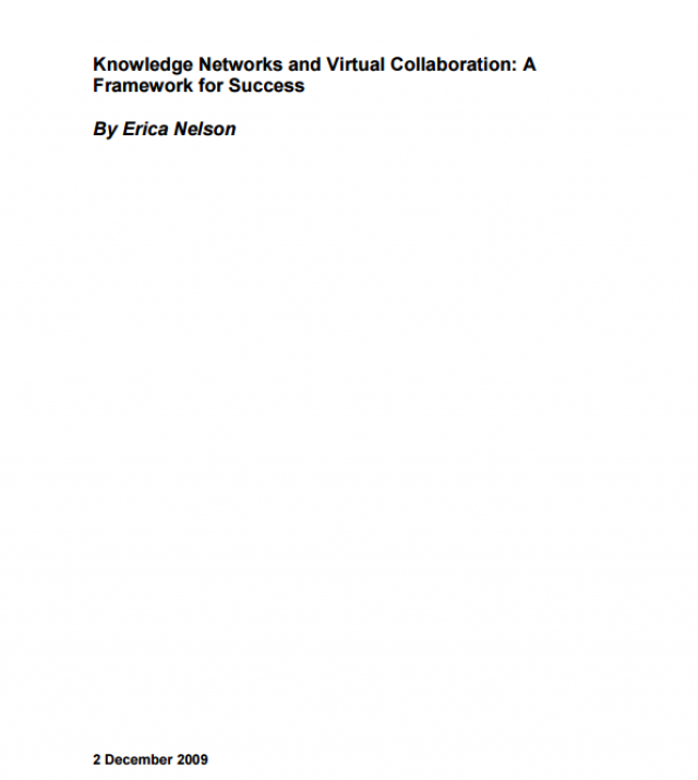 Download Resource: Knowledge Networks and Virtual Collaboration: A Framework for Success