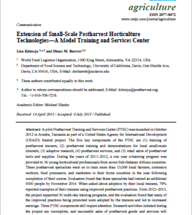 Download Resource: Extension of Small-Scale Postharvest Horticulture Technologies - A Model Training and Services Center