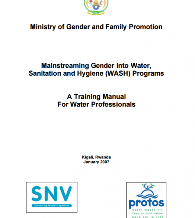 Download Resource: Mainstreaming gender into Water, Sanitation and Hygiene (WASH) programmes: A Training Manual for Water Professionals