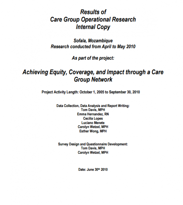 Download Resource: Mozambique Care Group Operations Research Report