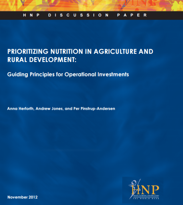 Download Resource: Prioritizing Nutrition in Agriculture and Rural Development
