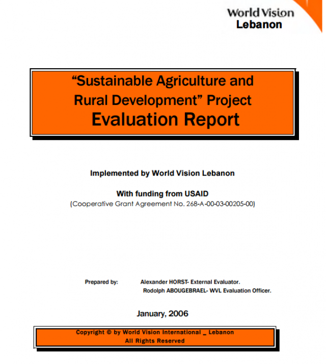 Download Resource: Sustainable Agriculture and Rural Development Project: Evaluation Report