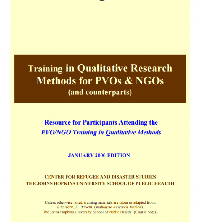 Download Resource: Training in Qualitative Research Methods for PVOs & NGOs